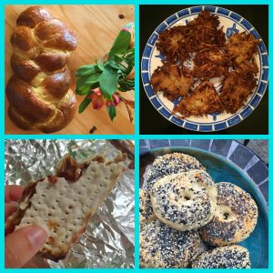 Collage of challah, bagels, matzah, and latkas