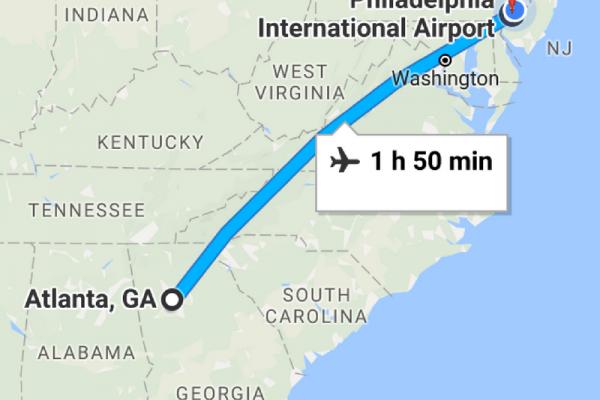 A screenshot of Google Maps showing a flight from Philadelphia International Airport to Atlanta, GA