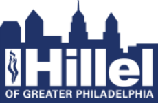 Philly skyline with the text Hillel Greater Philadelphia in white on top