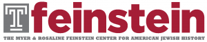 Temple University T outlined in white on a grey background next to the word feinstein in all lowercase letters