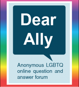 The words Dear Ally in a quotation box on a rainbow background