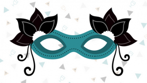 A graphic image of a decorative mardi gras style mask with little hamentashen in the background