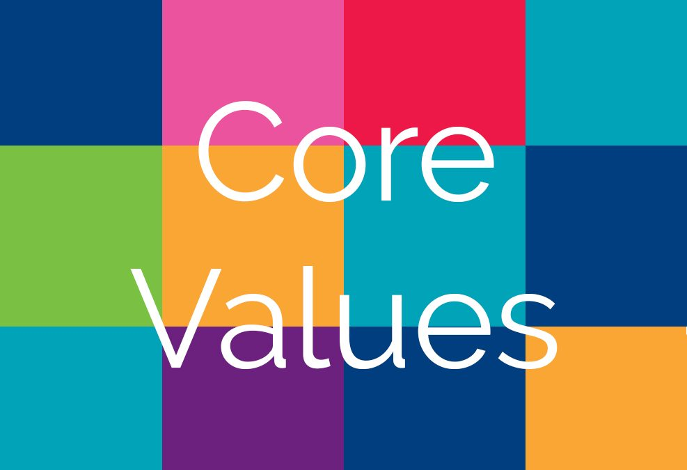 """Color blocks in the background behind the words """"Core values"""""""