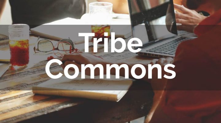 """Young people working on laptops with the overlay text """"Tribe Commons"""""""