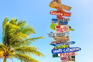 Sunny skies and a palm tree and a sign with numerous arrows pointing to destinations all over the globe