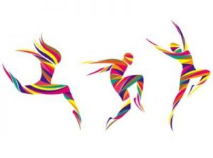 colorful illustrations of people dancing, playing