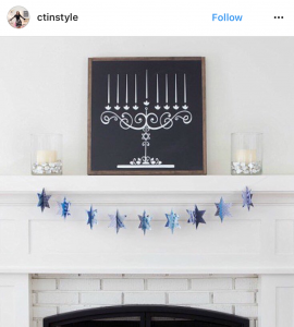 Chalkboard Menorah propped up on a mantle