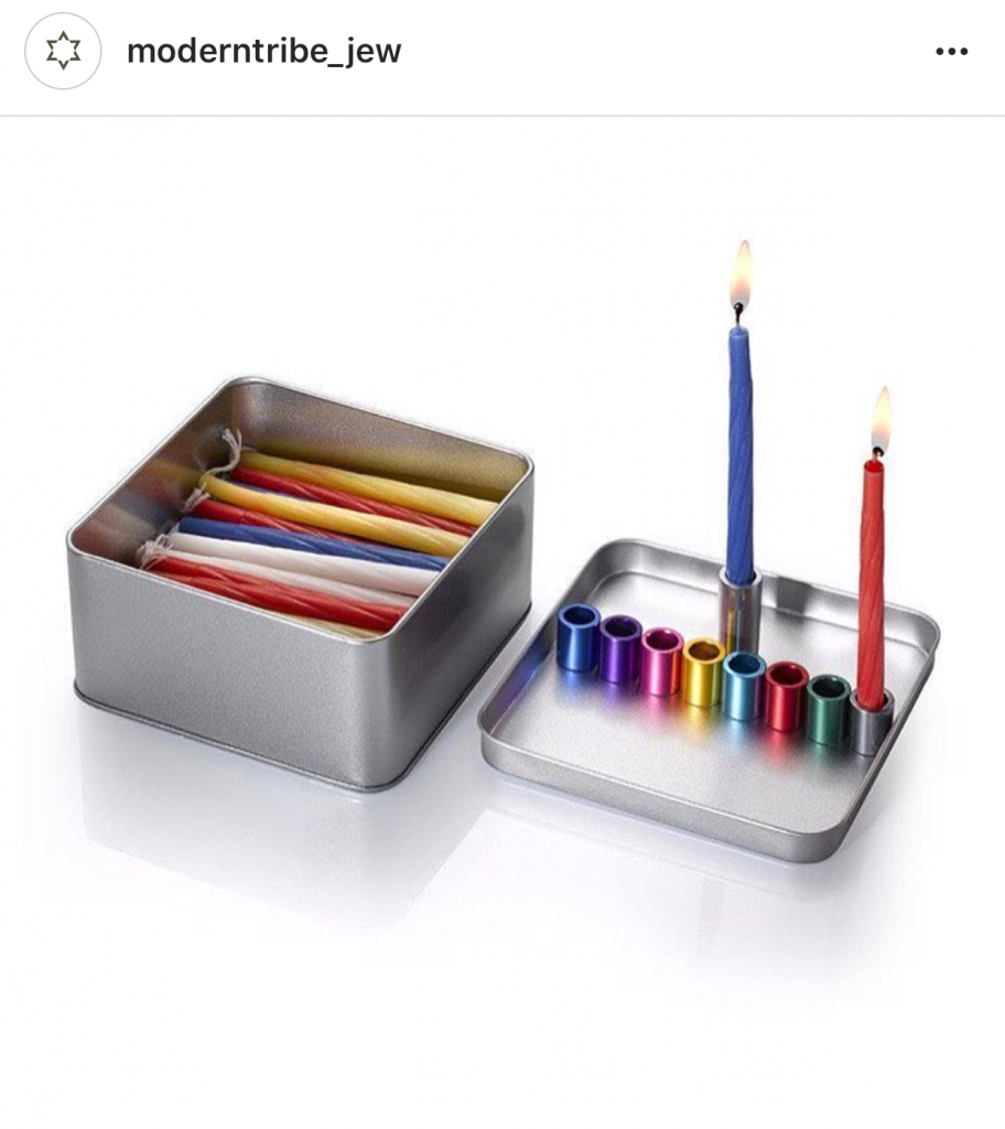 Menorah in a box that holds candles