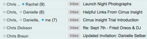 An inbox screenshot