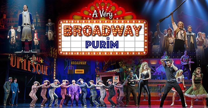 A Very Broadway Purim flyer that patches together scenes from various broadway musicals