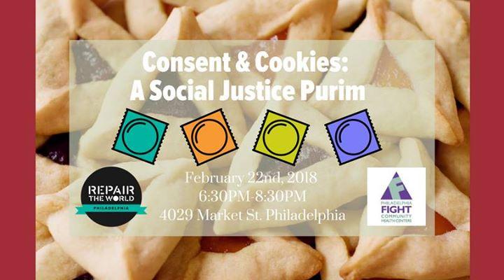 Social Justice Purim flyer with hamentashin & various partner organization logos