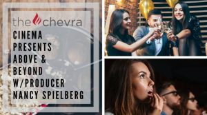 """A woman gasps while watching a movie and some young professionals do a cheers at happy hour. The Chevra Cinema presents """"Above & Beyond"""" W/ Producer Nancy Spielberg"""
