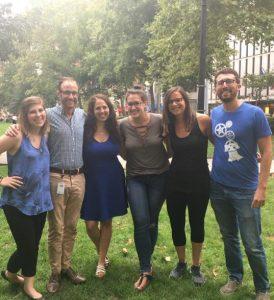 Rachel Abramowitz, Steven Share, Danielle Selber, Rachel Waxman, Shira Scott, and Adam Wodka pose together in Rittenhouse Square