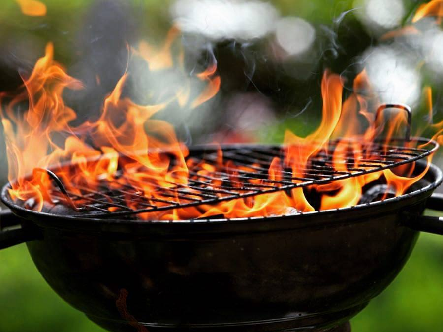 Grill with orange fire