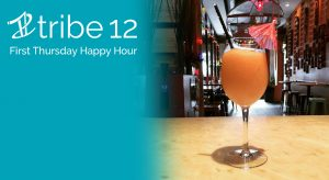 Frose in a wine glass on the bar at Tiki with teal Tribe 12 First Thursday Happy Hour overlay