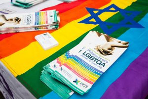 A rainbow flag with a Jewish star and an LGBTQIA brochure from Jewish Family and Childrens' Services