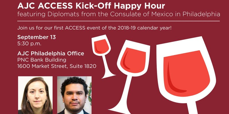 Wine glasses on a maroon flyer with pictures of the speakers for this AJC Access event