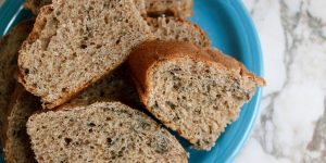 A plate of fresh baked whole wheat bread