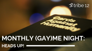 Blurred image of Cards Against Humanity with event title in white text